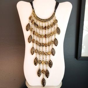 Dramatic animal print statement necklace